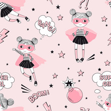 Cute Supergirls Cartoon Characters Fly And Fight With Pink Bomb On Pink Starry Background. Girlish Superhero Themed Seamless Pattern. Vector Doodle Graphics. Perfect For Little Girl Design Like T