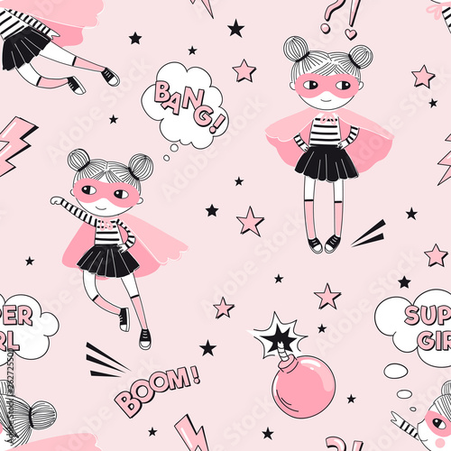 Cute Supergirls Cartoon Characters Fly And Fight With Pink Bomb On Pink Starry Background Girlish Superhero Themed Seamless Pattern Vector Doodle Graphics Perfect For Little Girl Design Like T Buy This
