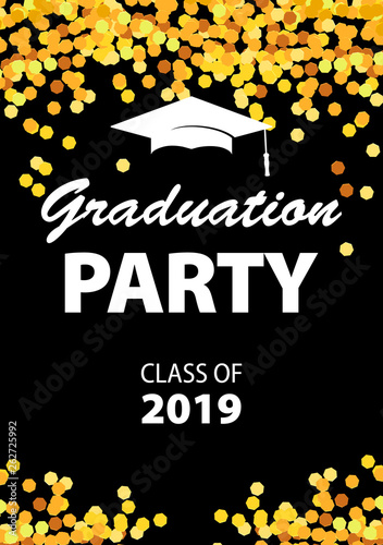 Fototapeta Graduation Party Invitation Card With Golden Confetti Glitter Graduation Cap And Black Background Vector Illustration