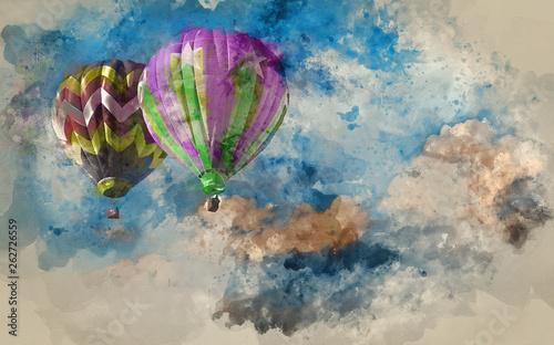 akwarela-malarstwo-oszalamiajace-formacje-chmur-blekitne-niebo-z-balonow-na-ogrzane-powietrze