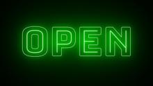 Green Open Neon Sign On Dark Background  4k