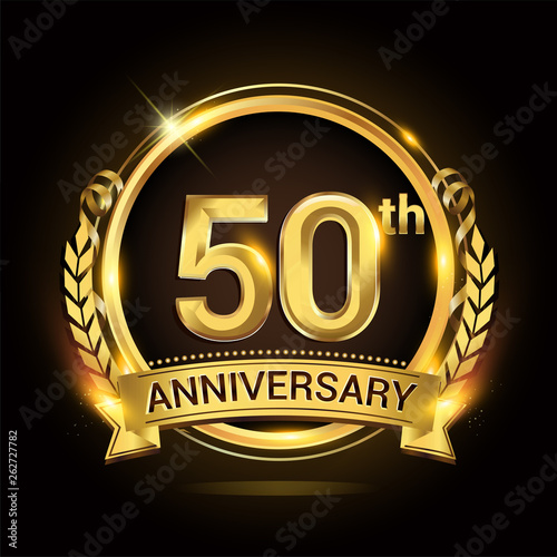 Canvastavla 50th golden anniversary logo, 50 years anniversary celebration with ring and ribbon, Golden anniversary laurel wreath design
