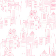 Modern New York City Scape In Pink Colour. Girlish Superhero Themed Neutral Seamless Pattern. Vector Doodle Graphics. Perfect For Little Girl Design Like T-shirt Textile Fabric Print Birtday Party