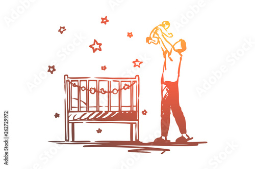 Photo Dad on maternity leave, happy man holding baby, children room with cradle, fathe