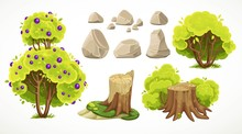 Set Of Natural Summer Objects Big And Average Bushes, Stones And Moss-covered Stumps On White Background