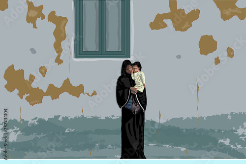 Canvas Print Young mother in black abaya and hijab stands near an old, dirty, shabby wall, holding little baby