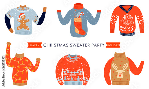 Christmas And Happy New Year Invitation Template On Ugly Sweater Party Card With Various Christmas Sweaters Illustration With Inscription Vector Illustration Buy This Stock Vector And Explore Similar Vectors At Adobe
