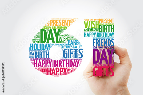 Fotografia  Happy 61st birthday word cloud with marker, collage concept