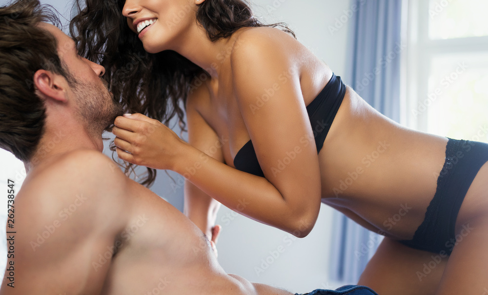 Fototapety, obrazy: Young sexy hot couple in love hugging and kissing