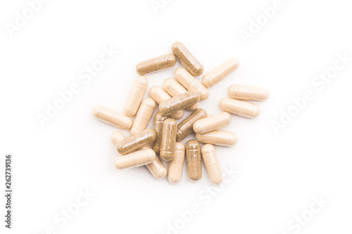 Medical herbal capsules isolated Obraz na płótnie
