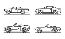 Cabriolet Car Icons Set. Outli...