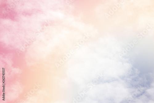 Vászonkép  Sun and cloud background with a pastel colour