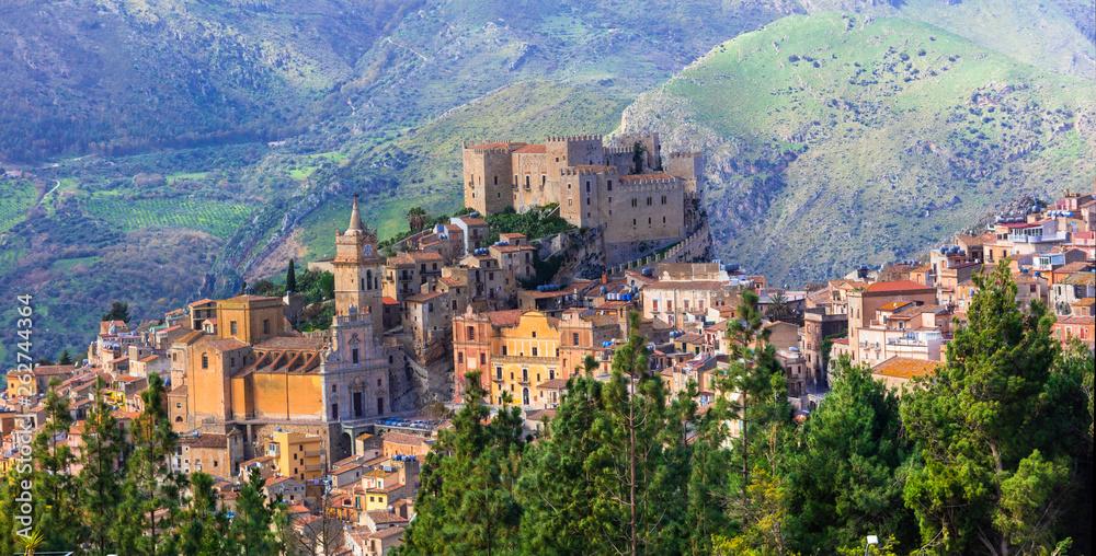 Fototapeta Beautiful mountain medieval village Caccamo in Sicilia, Italy