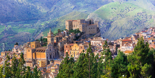 Beautiful mountain medieval village Caccamo in Sicilia, Italy