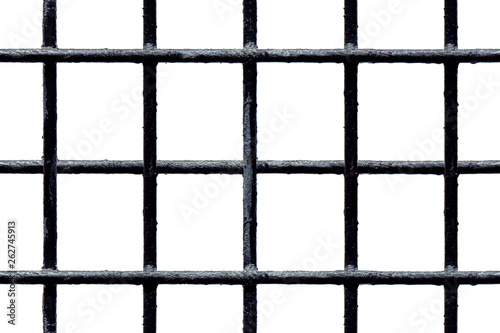 Fotografia Seamless black metal grate with shabby painted bars isolated on white