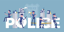 Police Giant Letters With Male, Female Officers. Policemen In Uniform, Working For Prevention, Detection Of Crime, Carry Professional Duty Of Maintaining Law. Vector Illustration, Faceless Characters