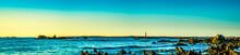 Beautiful Atlantic Coastal Shoreline Scenery Of Lighthouses And Lobster Boats.