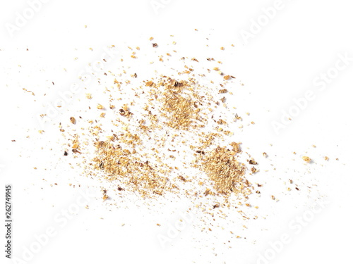 Valokuva  Ground, milled nutmeg powder isolated on white background, top view