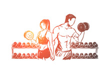 Bodybuilders Couple Working Out In Gym, Weight Lifting Exercise With Dumbbells, Sportsman And Sportswoman