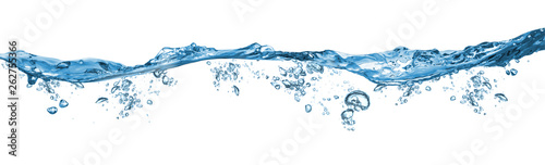 Obraz fresh blue natural drink water wave wide panorama with bubbles concept isolated white background - fototapety do salonu