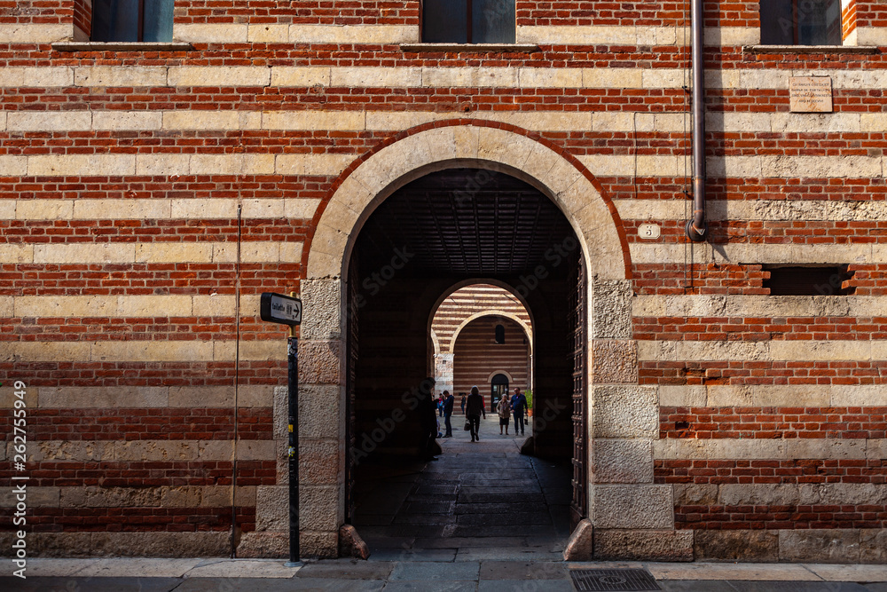 Verona, Italy – March 2019.  the Achille Forti Modern Art Gallery in the Palazzo della Ragione complex is Museum featuring modern works of art, Verona, Italy, Europe