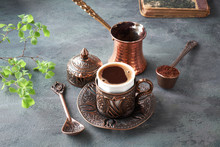 Oriental Coffee Cooked In Traditional Turkish Copper Coffee Pot And  Served In A Matching Cup