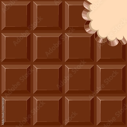 Foto auf AluDibond Ziehen Chocolate Sweet Bar with a bite out of the corner Vector illustration