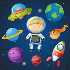 An astronaut on space