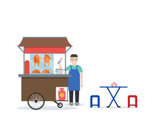 Thai Rice With Roasted Chicken Cart. Thai Street Food With Seller And Table Design In Flat Style.Vector Illustration
