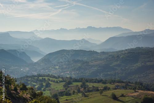 Fototapeta View on the Dinaric Alps from viewpoint near Scit, Bosnia and Herzegovina obraz na płótnie