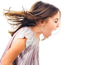 Little Girl Child Yelling, Shouting And Screaming With Bad Manners.
