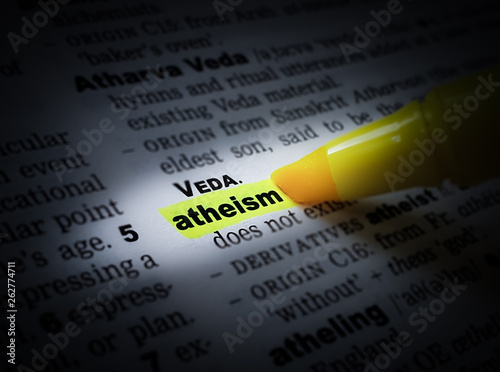 A yellow highlighted word in a page that reads: atheism Canvas Print