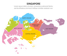 Singapore Multicolored Map Wit...
