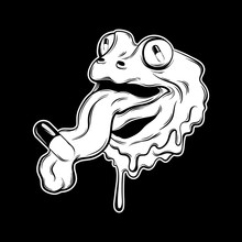 Vector Hand Drawn Illustration Of Frog With Tongue And Pill. Tattoo Artwork.