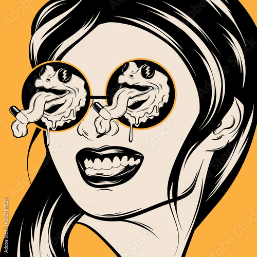 Photo Vector hand drawn illustration of smiling girl in sunglasses with frogs