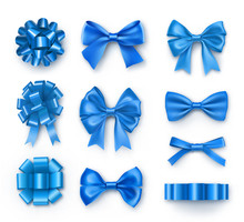 Blue Gift Bows With Ribbons