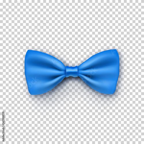 Obraz na płótnie Stylish blue bow tie from satin with shadow