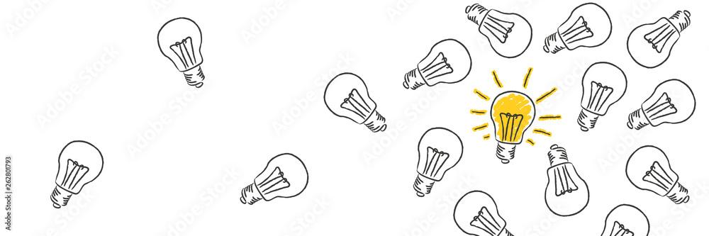 Fototapeta Glühbirnen mit einer leuchtenden Glühbirne - Idee