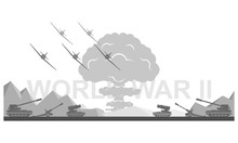 World War II 1939-1945 Black And White Vector Illustration. Battlefield Scene Monochrome Icon.