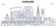 Cleveland,United States, Flat Landmarks Vector Illustration. Cleveland Line City With Famous Travel Sights, Design Skyline.