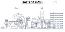 Daytona Beach,United States, Flat Landmarks Vector Illustration. Daytona Beach Line City With Famous Travel Sights, Design Skyline.