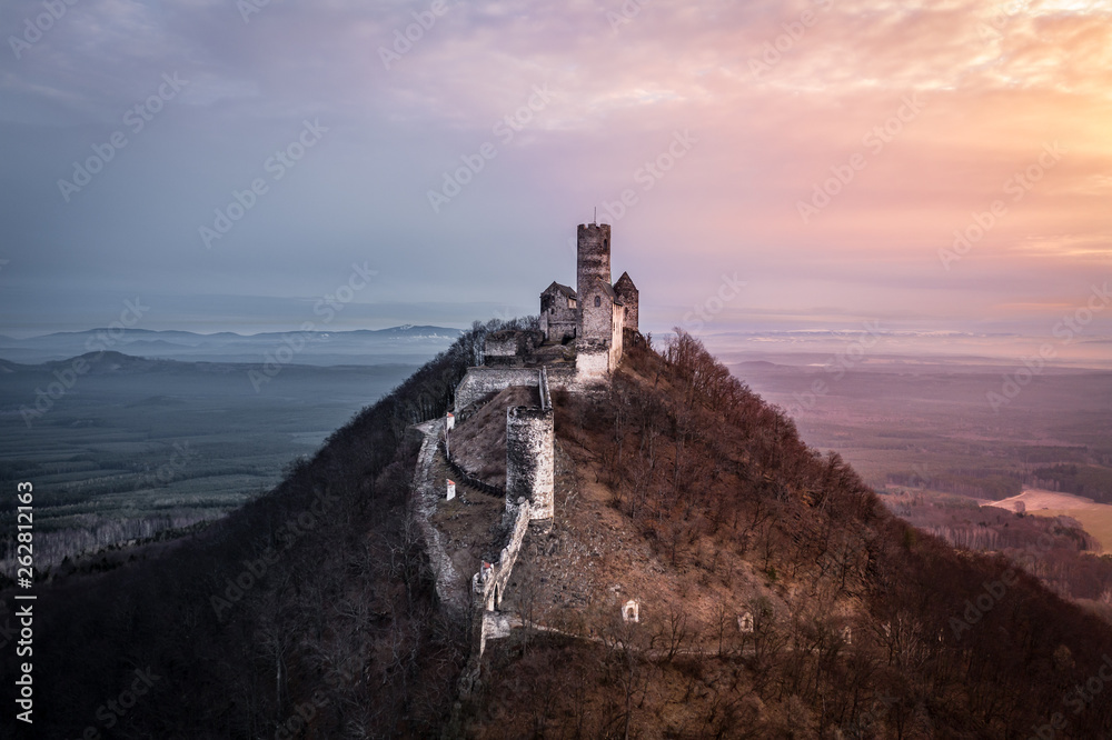 Fototapety, obrazy: Bezděz Castle is a Gothic castle located some 20 kilometres (12 mi) southeast of Česká Lípa, in the Liberec Region, Northern Bohemia, Czech Republic. Its construction began before