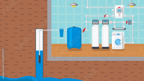 Fotomural Water Supply and Purification System Illustration