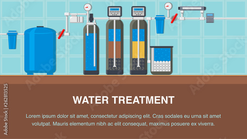 Fotomural  Water Treatment System Flat Banner with Text Space