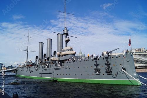 Canvas Print Cruiser Aurora, ship, Saint-Petersburg, Russia