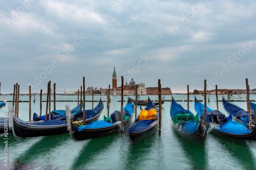 Staande foto Venice Gondolas moored in Piazza San Marco with San Giorgio Maggiore church in the background