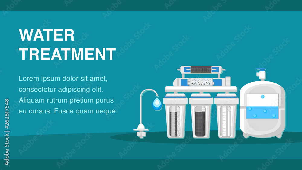 Fotografía Water Treatment Banner Template with Text Space