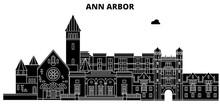 Ann Arbor , United States, Outline Travel Skyline Vector Illustration.