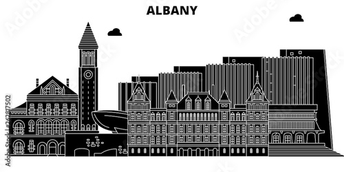 Fotografie, Tablou Albany,United States, vector skyline, travel illustration landmarks sights