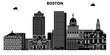 Boston , United States, outline travel skyline vector illustration